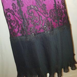 Betsey Johnson Dresses - Betsey Johnson fuschia and black lace slip dress